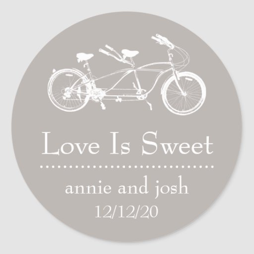 Bicycle For Two Love Is Sweet Labels (Sand) Sticker