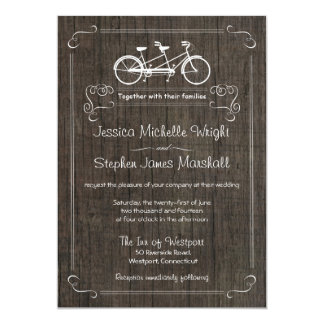 Bicycle for Two Rustic Wood Wedding Invitations