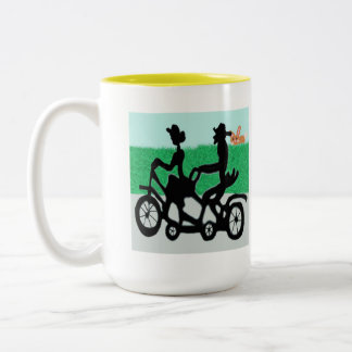 Bicycle For Two Spied By The Bunny Two-Tone Coffee Mug
