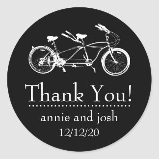 Bicycle For Two Thank You Labels (Black)