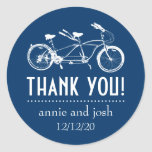 Bicycle For Two Thank You Labels (Dark Blue) Round Sticker