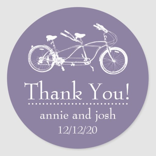 Bicycle For Two Thank You Labels (Eggplant Purple) Sticker