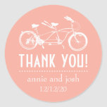 Bicycle For Two Thank You Labels (Peach) Round Stickers
