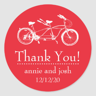 Bicycle For Two Thank You Labels (Red) Classic Round Sticker