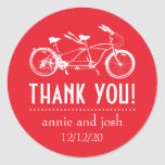 Bicycle For Two Thank You Labels (Red) Stickers