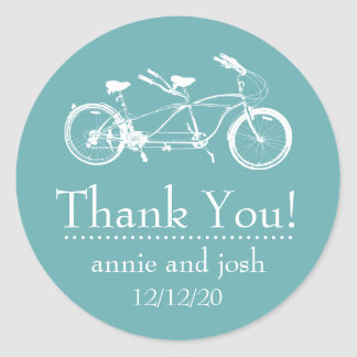 Bicycle For Two Thank You Labels (Sea Foam Green)