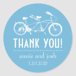 Bicycle For Two Thank You Labels (Sky Blue) Stickers