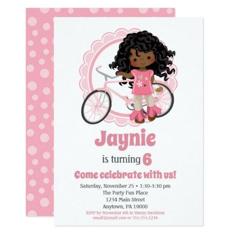 Bicycle Girl Birthday Invitation African American