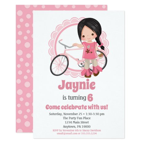 Bicycle Girl Birthday Invitation - Black Hair