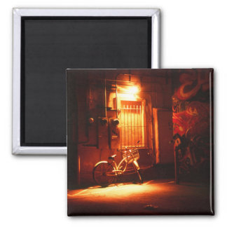 Bicycle in Dark Alley 2 Inch Square Magnet