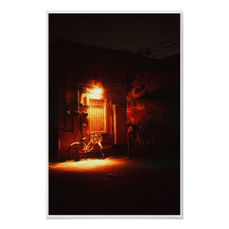Bicycle in Dark Alley Poster