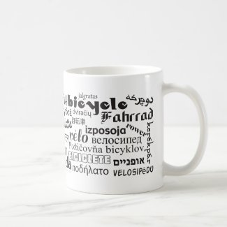 Bicycle (in different languages) Mug
