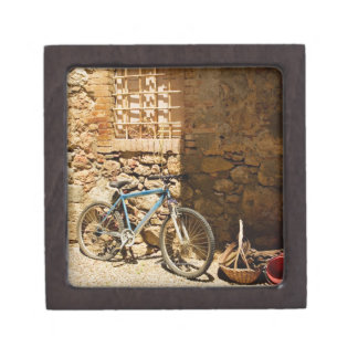 Bicycle in front of a wall, Monteriggioni, Siena Keepsake Box