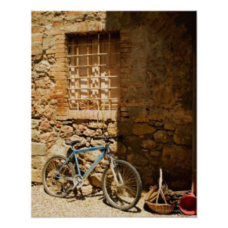 Bicycle in front of a wall, Monteriggioni, Siena Poster