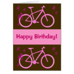 Bicycle in pink happy birthday card. card