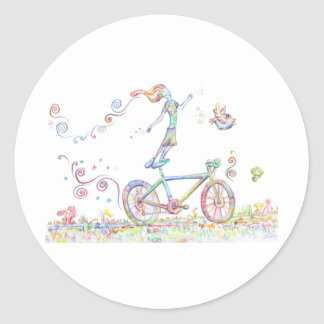 Bicycle Joy Classic Round Sticker