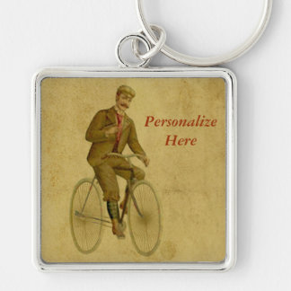 Bicycle Key to the Past with Vintage Cyclist Silver-Colored Square Keychain