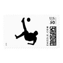 bicycle kick soccer player postage