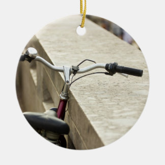 Bicycle Leaning On A Wall, City Photograph Ceramic Ornament