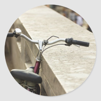 Bicycle Leaning On A Wall, City Photograph Classic Round Sticker