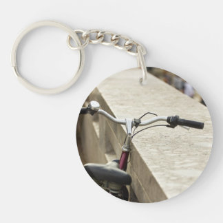 Bicycle Leaning On A Wall, City Photograph Keychain