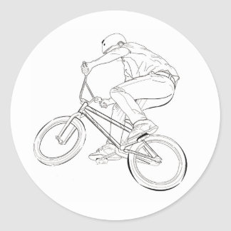 Bicycle Line Drawing Black/White Classic Round Sticker