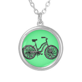 Bicycle Line Drawing Pendant Necklace