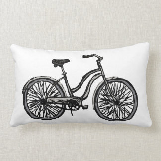 Bicycle Line Drawing Throw Pillow
