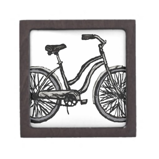 Bicycle Line Drawing Wooden Gift Box +colors Premium Jewelry Box