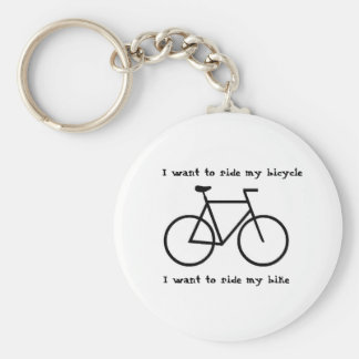 Bicycle love basic round button keychain