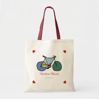 bicycle love biking personalized tote bag