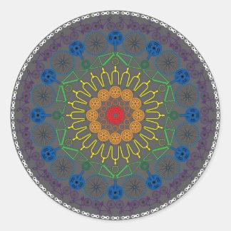 Bicycle Mandala 2 Classic Round Sticker