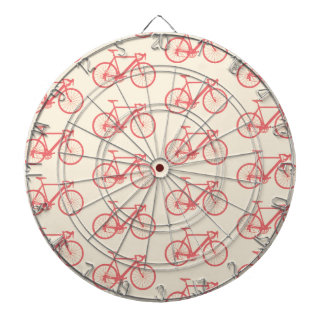 Bicycle Modern Silhouette Coral and Ivory Pattern Dart Boards
