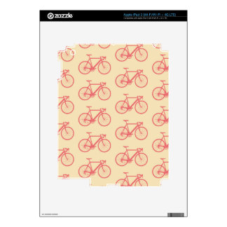 Bicycle Modern Silhouette Coral and Ivory Pattern Decals For iPad 3