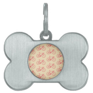 Bicycle Modern Silhouette Coral and Ivory Pattern Pet ID Tag