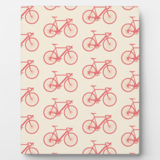 Bicycle Modern Silhouette Coral and Ivory Pattern Plaque