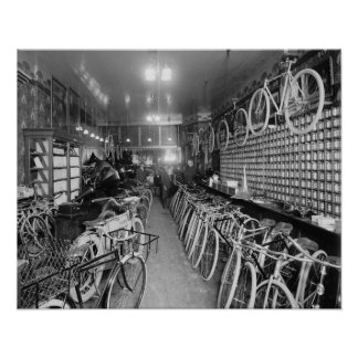Bicycle & Motorcycle Shop, 1910. Vintage Photo Poster