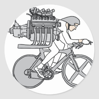 Bicycle Motoring Classic Round Sticker
