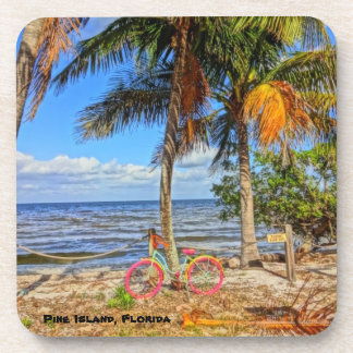 Bicycle on the beach - Pine Island Florida Beverage Coaster