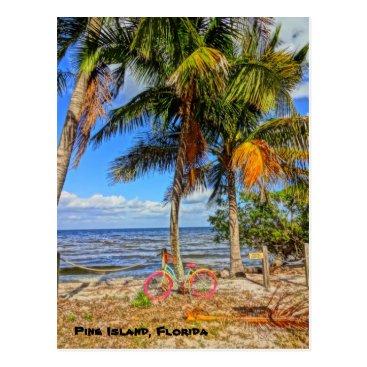 Beach Themed Bicycle on the beach - Pine Island Florida Postcard