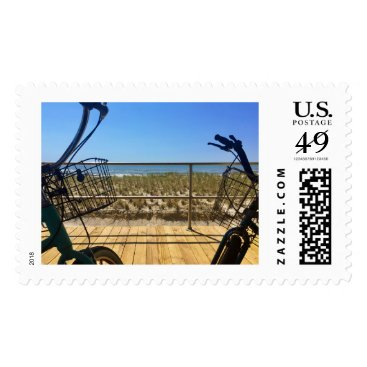 Beach Themed Bicycle on the Boards Postage Stamp