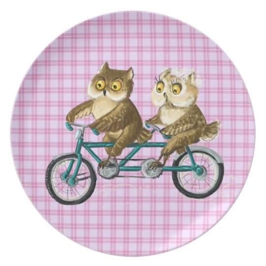 Bicycle owls dinner plate