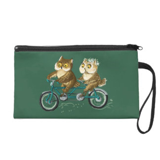 Bicycle owls green wristlet