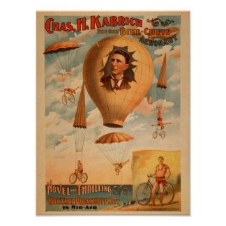 Bicycle Parachute act in mid-air Theatre Print