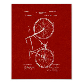 Bicycle Patent - Burgundy Red Poster