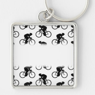 Bicycle Pattern in Black and White. Silver-Colored Square Keychain