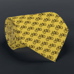 """Bicycle Pattern Neck Tie<br><div class=""""desc"""">Yellow With Black Bicycles Pattern Ties.</div>"""