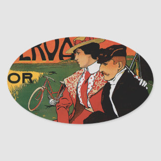 Bicycle Picnic Oval Sticker