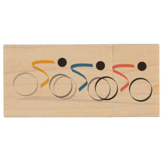 Bicycle Race Logo Personalized Wood Flash Drive