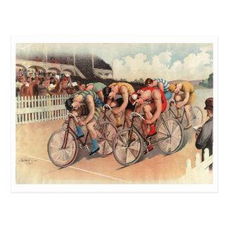 Bicycle Race Scene, c1895 Vintage Postcard